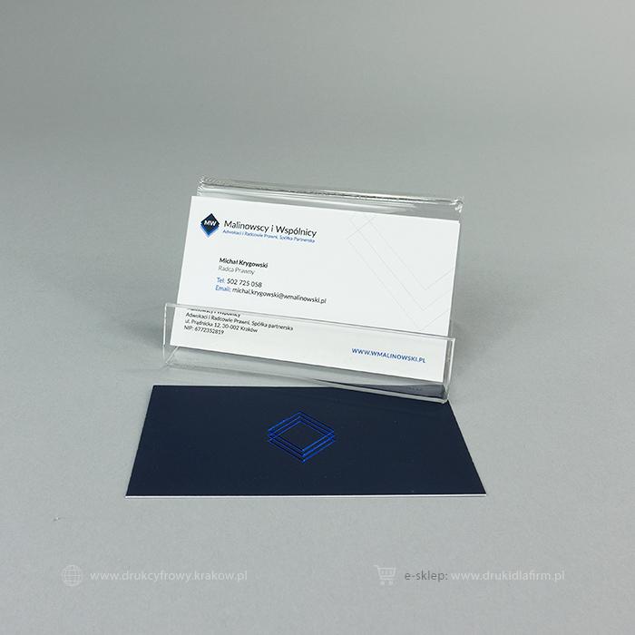 wizytówka złocona (hot-stamping folią koloru niebieskiego)
